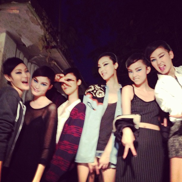 Candid photo of Chiharu, Sui, Kim, Lina, Ji, Xiao, Lina  after the Chanel Cruise 2014 fashion show.