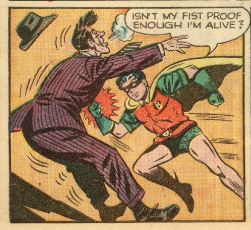tompeyer:  I punch, therefore I am!   Dick Grayson, philosopher.