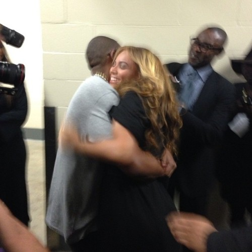 Jay-Z congratulates wife Beyonce after her Superbowl halftime performance.