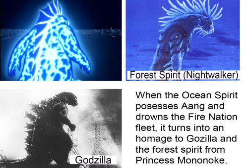 The Ocean Spirit = Godzilla + The Forest Spirit When the Ocean Spirit posesses Aang and drowns the Fire Nation fleet, it turns into an homage to Gozilla and the forest spirit (aka the nightwalker) from Princess Mononoke. Image source: One, two More about the Ocean Spirit: Click me!