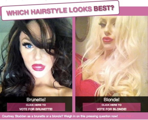 Courtney Stodden: Better as a blonde or brunette? What do you think? Or, do you even care? Or, who is Courtney Stodden?