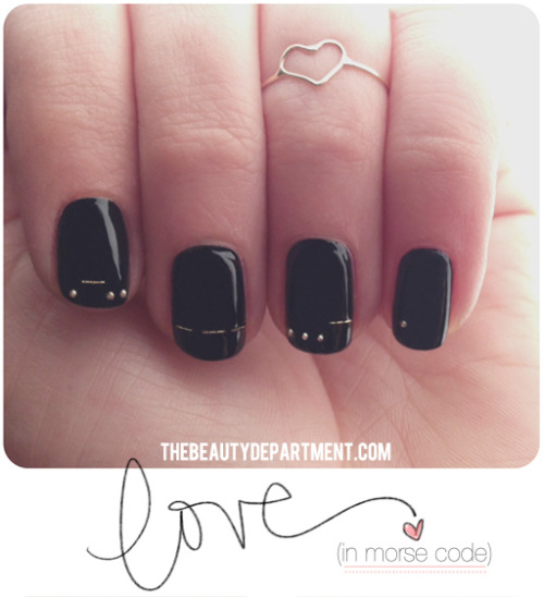 DIY LOVE in Morse Code Valentines Day Nail Art Tutorial from The Beauty Department here. I love Morse Code jewelry so for Morse Code charts and more DIYs go here: truebluemeandyou.tumblr.com/tagged/morse-code