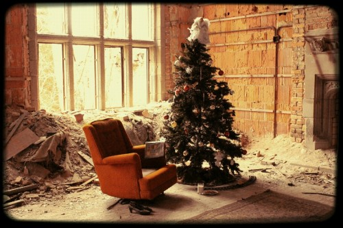 This is my Christmas tree…i abandoned it at an abandoned church because life is complicated and it was sitting in storage and I wanted to have the chance to decorate it and be in the xmas spirit.