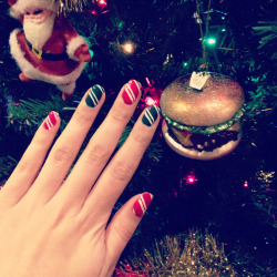 Candy Cane Nails Sally Hansen - White On RGB - Red LA Girls - Envy