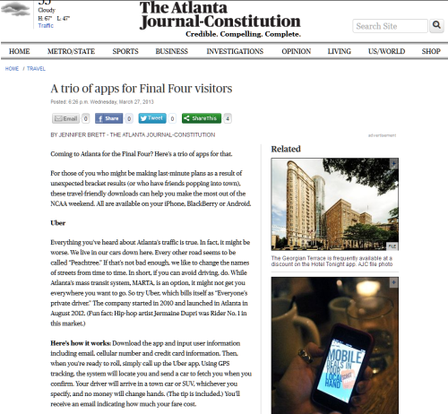 Scoutmob's a party planner in your palm. Experience the Atlanta Journal-Constitution's trio of Final Four apps.