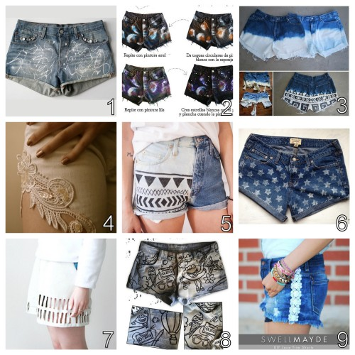 truebluemeandyou:  DIY Summer Shorts Roundup Part 1. For DIY shorts that I've posted go here: truebluemeandyou.tumblr.com/tagged/shorts Paint Scribble Jewel Embellished Jean Shorts by I Spy DIY here.  Bleach and Paint Galaxy Shorts from 2nd Funniest Thing here. Bleached Shorts Failure and Success and Important Tips from Oh So Pretty here. Lace Insets Tutorial from Clones & Clowns here. DIY Easy Bleached Geometric Shorts Tutorial and Template from Boat People here. Faded Stamped Stars Cut Off Jeans from La Vie en Rose here. Faux Laser Cut Shorts from Love Aesthetics here. Bleached and Doodle Shorts from Dare to DIY here. Lace Tuxedo Stripes for Shorts Tutorial from Swellmayde here.