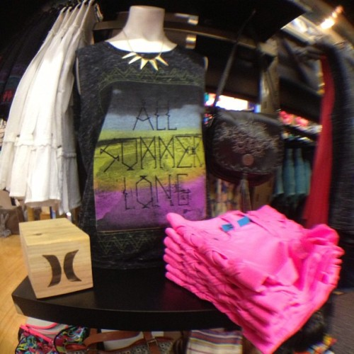 New brights and biker tanks from Hurley in the VB shop! 💙💕💛 @hurley_girls #hurley #bright #hotpink #allsummerlong #bikertank #fashion #summer #cute #love #whalebonesurfshop #fisheye