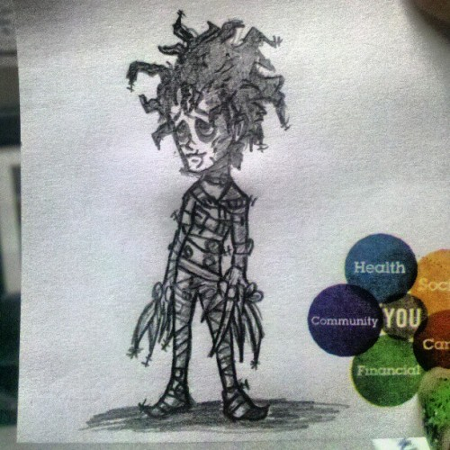 Lil Eddie Scissorhands for my co-workers son #workdoodles