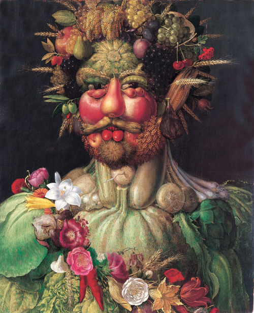 "italianartsociety:     by Anne Leader and Douglas Dow On this day in 1593, Giuseppe Arcimboldo, the Milanese painter best known for his portraits made of still life objects, died in his hometown. Arcimboldo trained with his father Biagio, with whom he worked in Milan Cathedral. Giuseppe was paid through 1558 for supplying paintings, designs for an altar canopy, and stained-glass window designs for the Milanese Duomo. In 1562 he was appointed court portraitist to Emperor Ferdinand I in Vienna, and later, to Maximilian II and his son Rudolf II at Prague. Though primarily known for his fantastic heads composed of still life objects, Arcimboldo in fact painted numerous conventional religious subjects and traditional portraits. However, it is his human heads made up of flowers, vegetables, fruit, animals, sea creatures and tree roots that continue to fascinate and amuse viewers today, just as they did in the Renaissance. Some of these ""portraits"" read as a still life when turned upside down. The heads are allegorical representations of abstract concepts—the Seasons or the Elements, for example—that are composed of items closely associated with the ideas that they personify. Summer is a portrait made from the grains, fruits, and vegetables that are plentiful during that season. Water is built up in a configuration of creatures, shells, and corals found in the ocean, just as Air is composed of birds who make the sky their home. Arcimboldo spent almost all of his professional life working for the Habsburgs in Vienna and Prague, and his paintings are usually understood as glorifications of imperial rule. Widely admired in their own time, Arcimboldo's works were also celebrated in the twentieth century by the Surrealists. References: Thomas Dacosta Kaufmann. ""Arcimboldo, Giuseppe."" Grove Art Online. Oxford Art Online. Oxford University Press. <http://www.oxfordartonline.com/subscriber/article/grove/art/T003904>; Helen Langdon. ""Arcimboldo, Giuseppe."" The Oxford Companion to Western Art. Ed. Hugh Brigstocke. Oxford Art Online. Oxford University Press. <http://www.oxfordartonline.com/subscriber/article/opr/t118/e96>; Elena Pavoledo. ""Arcimboldi, Giuseppe."" Dizionario Biografico degli Italiani. <http://www.treccani.it/enciclopedia/giuseppe-arcimboldi_(Dizionario-Biografico)/>. Vertumnus, c. 1590, oil on panel, Skoklosters Slott, Bålsta (Stockholm) The Vegetable Gardener, 1587-90, oil on wood, Museo Civico ""Ala Ponzone,"" Cremona The Librarian, c. 1566, oil on canvas, Skoklosters Slott, Bålsta (Stockholm) Maximilian II, His Wife and Three Children, 1563, oil on canvas, Kunsthistorisches Museum, Vienna Reversible Head with Basket of Fruit, c. 1590, oil on wood, French & Company, New York Scenes from the Life of St John the Baptist: Naming of the Baptist, 1545, fresco, San Maurizio al Monastero Maggiore, Milan"