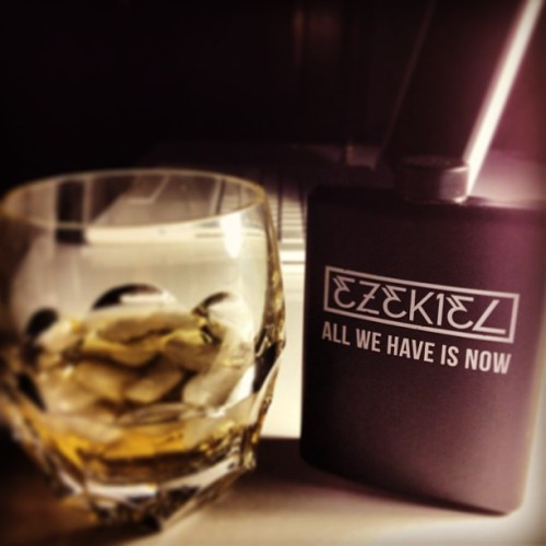 All we have is now. Thank you @ezekielclothing for making plastic flasks. In constant use. #makessomuchmoresense #flossybourbonglass