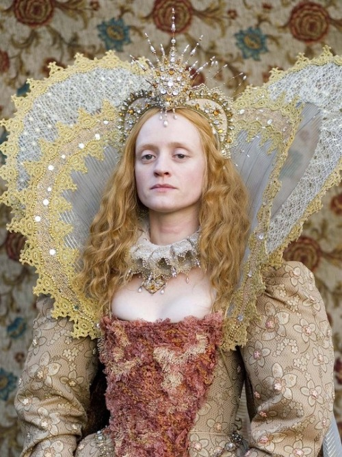 Elizabeth I: The Virgin Queen: Anne-Marie Duff as the protagonist, wearing an elaborate dress with conic-shaped corset.