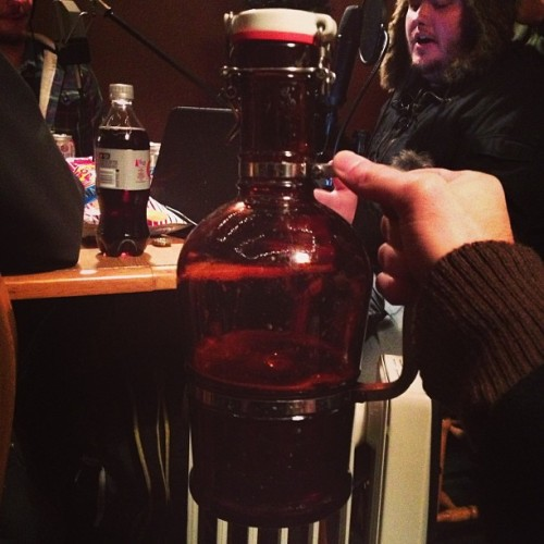 Growler of @bohicks's famed Druid City Pale Ale during a taping of @PursuitsTrivial.  (at Tuscaloosa, AL)