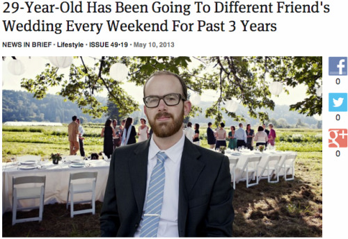 theonion:  29-Year-Old Has Been Going To Different Friend's Wedding Every Weekend For Past 3 Years: Full Report
