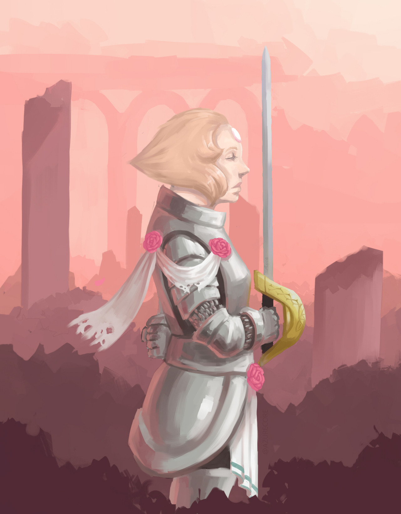 """ill do it for her"" some SU pearl fan art i made I imagined pearl as a knight standing in the middle of the ruins of once rose's castle anyway hope u guys like it"