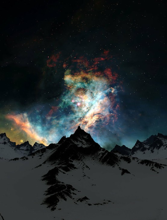 Aurora Borealis over snow covered mountain tops (via Let's Go)