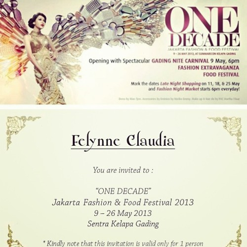 Annual Event on May! #invitation #jfff #one #decade #fashion #food #festival #kelapagading #blogger #writer #reporter #fashionshow #fashionshowinvitation