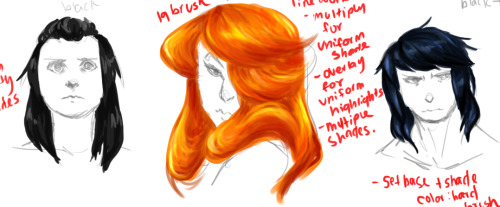 "started doing some hair experiments, since I really need to practice painting that. I'm almost considering starting with hair first whenever I do paintings, now. :I Hmmm… There's some notes for each different painting ""style"" - if you wanna see those notes, just let me know!"