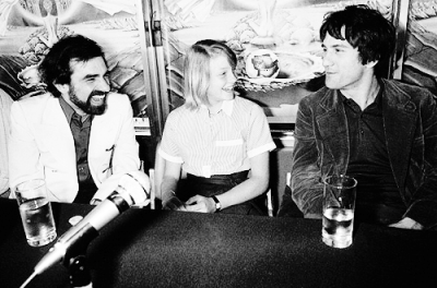 Martin Scorsese, Jodie Foster and Robert De Niro at the presentation of Taxi Driver during the Cannes Film Festival, 1976
