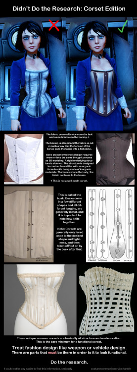 costumecommunityservice:  [full size] AKA, How Corsets Work 101 Even if you aren't bothered by the fact that it's the wrong type of corset for the year, like I am, it's still a really poorly designed corset.