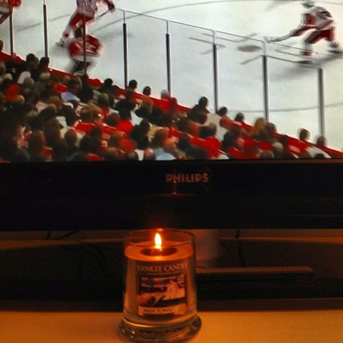 Using my Man Town candle to watch hockey and not basketball as pictured. Hope no one takes it from me.