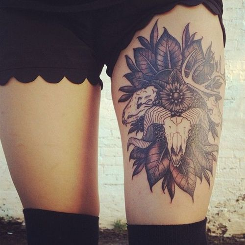 Cool Thigh Skull with Flowers Tattoo for Women   Tattoos for Women   Inspiration DE