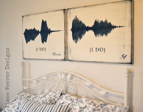 The sound waves of them saying 'I do'.