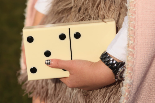 wgsn: Is that a #CharlotteOlympia domino clutch we see? #PFW @Charlottes_Web WGSN Street Shot, Paris Fashion Week