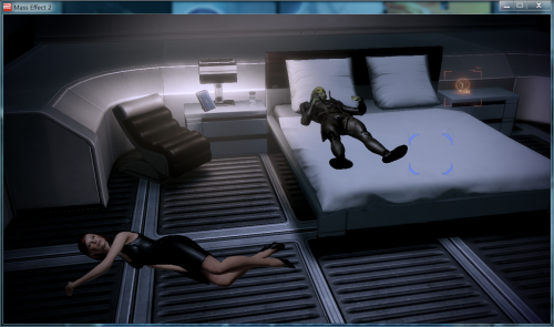 Oh no lol Shep is totally wasted. Dunno if it's Kasumi's bar fault or are the hallucinations kicking in Romancing a drell. Heavy risk…  BUT THE HIIIIIIIIIIIIGHS
