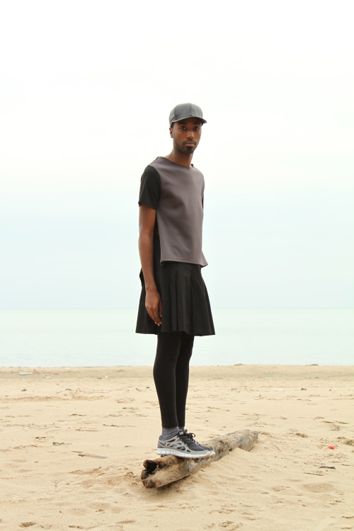 blackfashion:  Shirt: SameDNA Skirt: Uniqlo Shoes: Nike  Travis, 22, Chicago  http://travisweaver.tumblr.com Shoot for http://richlittlepoorboys.com/