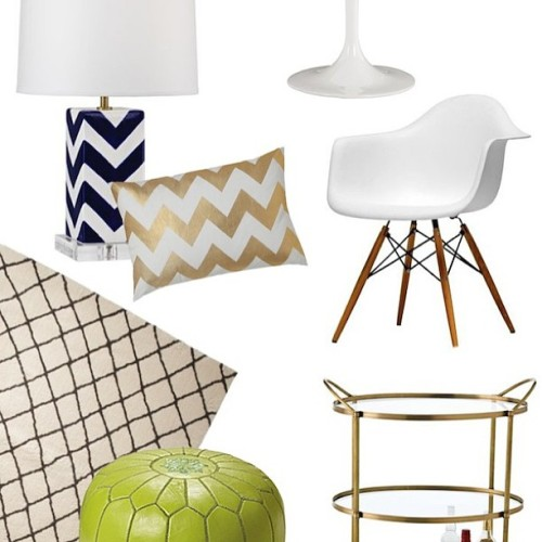 Still coveting these items from our gift guide. Like the bar cart + chevron lamp from @eurostylelight