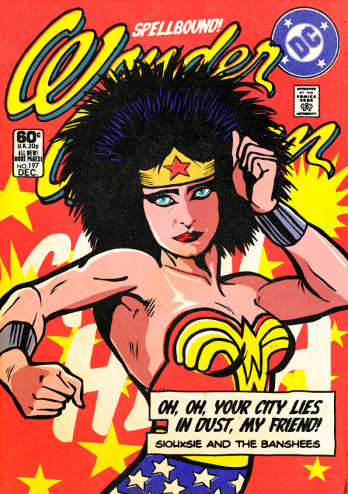 neil-gaiman:  butcherbilly:  The Post-Punk / New Wave Super Friends by Butcher Billy Who are your heroes?  Reblogged purely to make Amanda smile.  I now want a Joy Division/Batman cross over tee