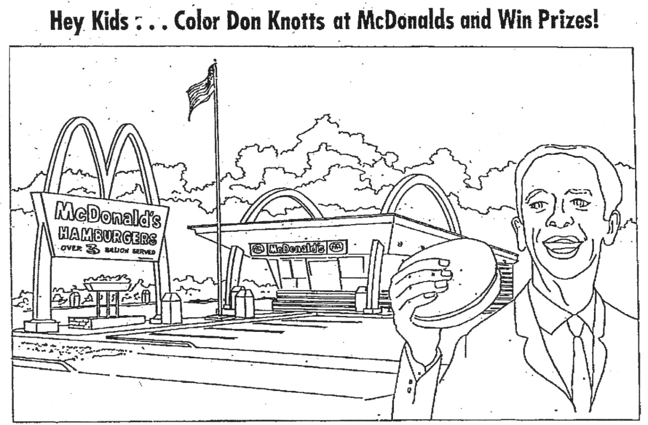 savetheflower-1967:  Color Don Knotts at McDonalds and win prizes! 1967.