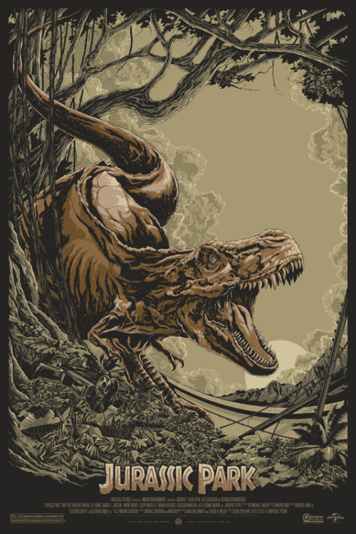 "xombiedirge:  Jurassic Park by Ken Taylor 24"" X 36"" screen print, numbered regular edition of 475, and a variant edition of 225. On sale announcement sometime Thursday 3rd January 2013, via Mondo's twitter HERE."