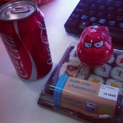 Yum! Happy Red Nose Day! #mylunch #sushi #cocacola #rednoseday #comicrelief
