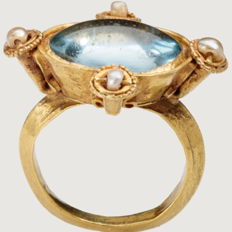 byzantine ring gold ring glass pearls blue ring uploads this is the last one for today i swear