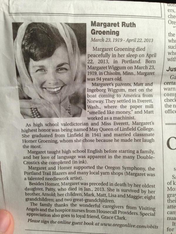 Matt Groening's mom recently passed,though she fortunately lived a full life. But check out the obit. Any names you recognize here? Hint: Marge is short for Margaret.(ht @pourmecoffee) EDIT: Here's a story on the obit from The Oregonian.