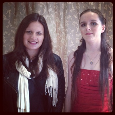my sister and I before her school leavers' ball :)