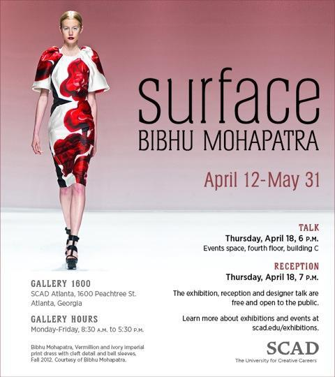 BIBHU MOHAPATRA Designer talk, and reception April 18th at 6:00 pm Savannah College of Art & Design in Atlanta OPEN to the Public