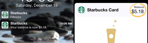 Starbucks / Apple iOS Passbook: When you pay using your registered gift card, passbook will tell you your new balance within seconds. Swiping to open the Passbook balance notification opens Passbook and a circle is drawn (animated) around your balance to draw your attention to it.