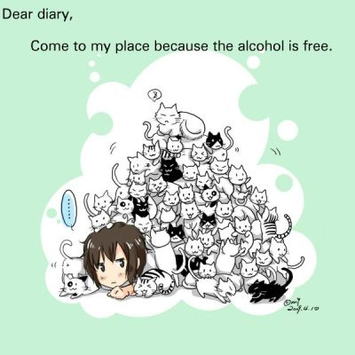 hetaliadiaries:  Dear diary, Come to my place because the alcohol is free. Art from: (Couldn't find…) Submitted Anonymously.