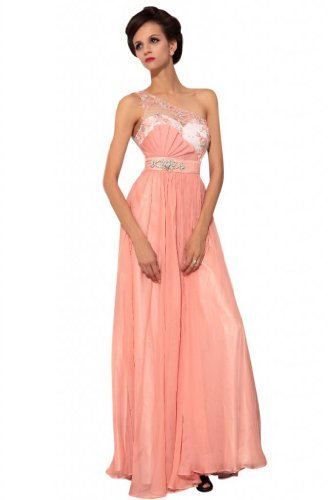 Kingmalls Womens pink bridesmaid prom one shoulder formal wear gowns dresses with beads sequins