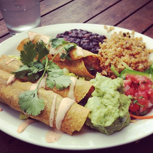 thatvegancosplayer:  From Native Foods, the Taquitos. #vegan #food #veganfood #me #personal #nativefoods