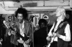 rootsnbluesfestival:  Jimi Hendrix on bass, Johnny Winter on guitar, and Buddy Miles in '69 at The Scene. Johnny Winter will be on stage at Roots N Blues N BBQ '13!