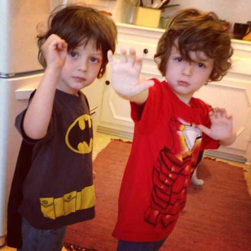 thedaddycomplex:  The boys got new superhero shirts — Batman and Iron Man. When I was in college, me and a buddy of mine had the idea to make a short film about Batman and the Joker as college roommates. We thought it was brilliant. Seeing this picture sparked a similar idea: Bruce Wayne and Tony Stark as young kids. It'd be like Richie Rich, but with violent crime-fighting.