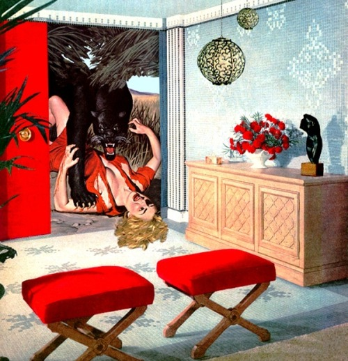 Nadine Boughton's collages depict the perils and paranoia of 50s domesticity. They perfectly overlay: wild anxiety, smoldering sexuality and unstable masculinity. A beautifully perverse cut and paste.