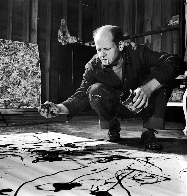 "Celebrating Jackson Pollock ""Painting is self-discovery.  Every good artist paints what he is."" The pioneering Abstract Expressionist painter was born on this day in 1912 in Wyoming.  After moving to New York city in 1930, he spent the next two decades creating figural, landscape, and abstract paintings.  In 1947, Pollock began to experiment with pouring paint directly from the can onto canvases placed on the floor. Sometimes, he used the assistance of sticks and other non-traditional materials, a technique with which he would become permanently identified."