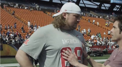 "Zane Beadles of the Denver Broncos does not look very happy with Pat… See why when the ""Mermaid"" music video premieres on Wednesday morning on VH1."