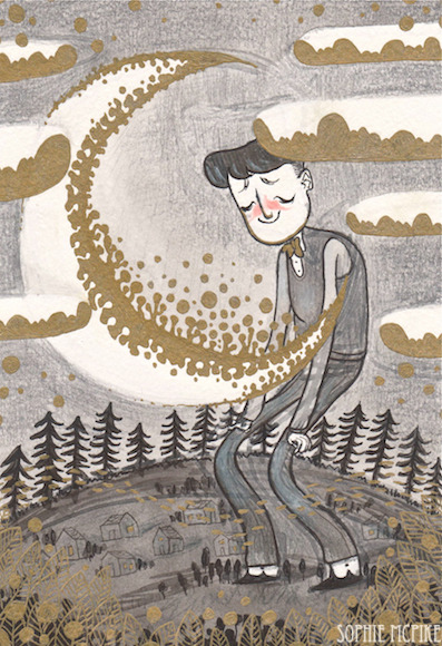 "homesickpipe:  ""…When The Moon Got In My Eyes."" Ink and gold ink and coloured pencil :) :)"