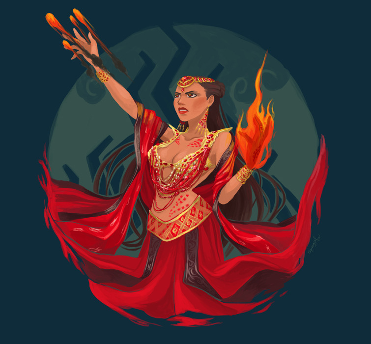 Lalahon, my 4th  diwata fanart from the filipino epic series, Indio. She is the goddess of fire and volcanoes. Lalahon possesses the power to control fire using her hands, create balls of fire and explosives. She can also manipulate and command volcanoes to erupt if needed.
