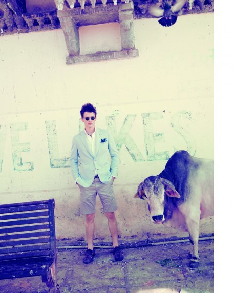 Brioni, Oliver Peoples & a bovine friend.  Simon Nessman photographed by Arnaud Pyvka.
